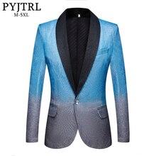 PYJTRL 新メンズ芸術グラデーションカラー光沢のあるスカイブルーブレザーナイトクラブステージ歌手ウェディングドレススーツのジャケットの衣装
