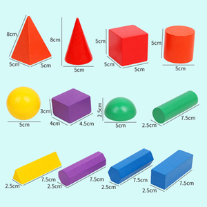 Image 5 - 12/15pcs Color Wooden Geometry Combination Teaching Aids Children Early Education Building Blocks 3D Educational Toys
