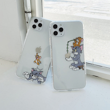 Cute Cartoon Funny Cat Mouse phone case for iphone 11 Pro max 11 7 8 plus X XS Max Xr 11pro Transparent Clear phone cover Coque