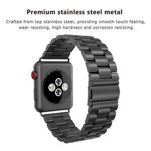 Image 3 - Jansin luxo pulseira de aço inoxidável para apple assistir banda 42mm 38mm 44mm 40mm pulseira banda para iwatch série 6 se 5 4 3