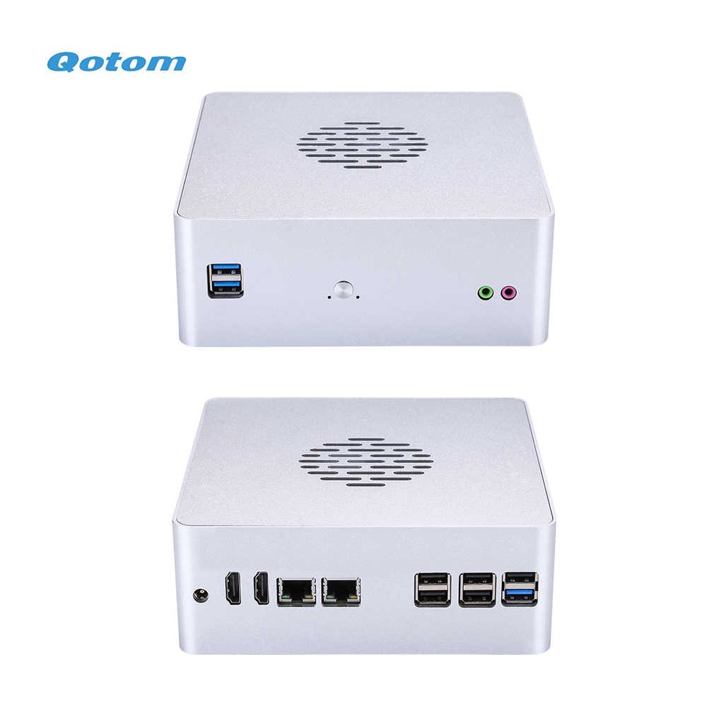 Qotom DIY Mini Desktop Computers Q600S Barebone System Support 6th 7th Gen Processor DDR4 RAM M.2 SSD Mini Home Office PC