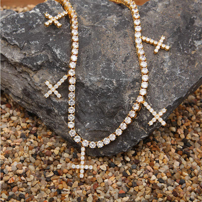 Luxury brand fashion girls boys Gold Silver Color cross necklace swarovsked Zircon chain men woman Choker pendant gift jewelry