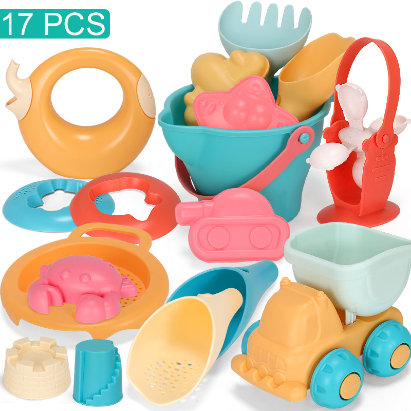Summer Silicone Soft Baby Beach Toys Kids Mesh Bag Bath Play Set Beach Party Cart Bucket Sand Molds Tool Water Game
