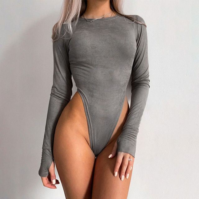 Faux Suede Bodysuit With O-Neck Long Sleeves 2