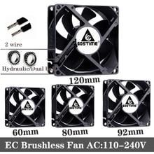 2pcs 60mm 80mm 90mm 120mm EC Brushless Fans PC cooler AC 110V 115V 120V 220V 240V Axial fan 6025 8025 9225 12038