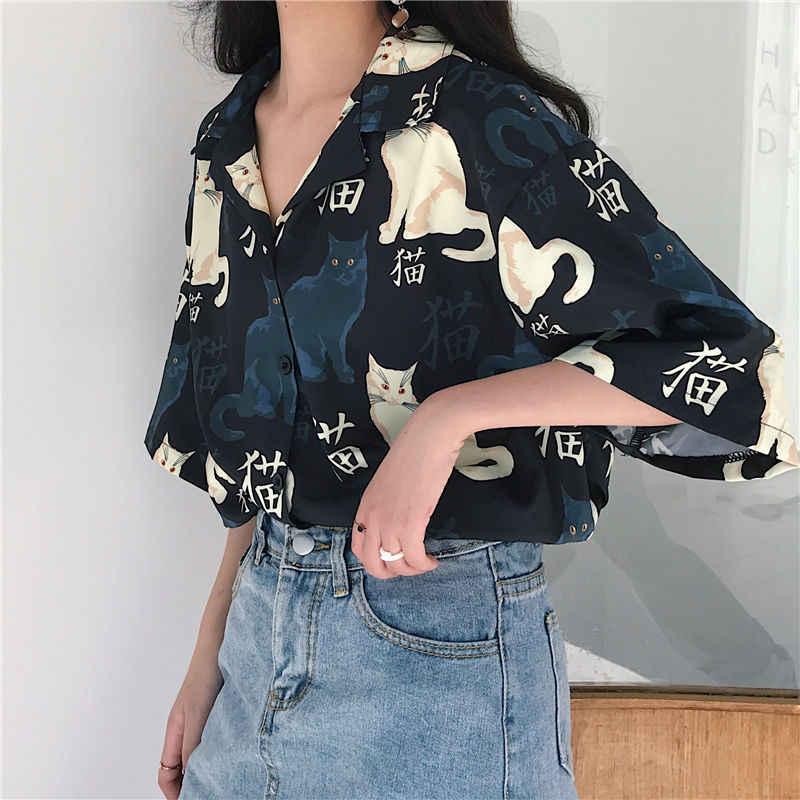 Bluzlar kadınlar Vintage kedi baskılı kore temel gevşek şık tasarım bayan gömlek günlük kolej sokak tüm maç bayan bluz üst