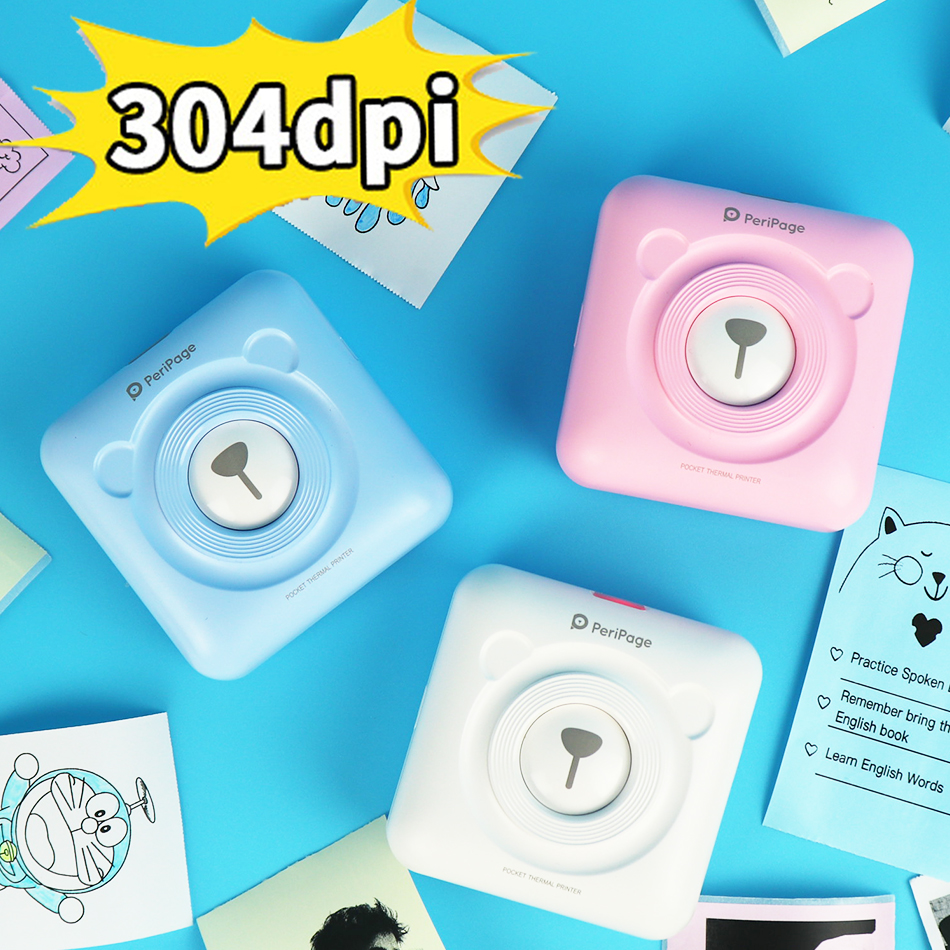 304 DPI 58mm Bluetooth Thermal Photo Printer Mini Pocket Small Cute Peripage A6 Wireless Picture Printer For IOS Android System