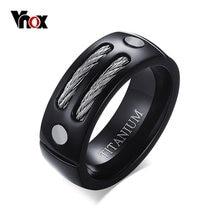 VNOX 100% Titanium Ring Men IP Black Color With Wire Unique New Male Jewelry