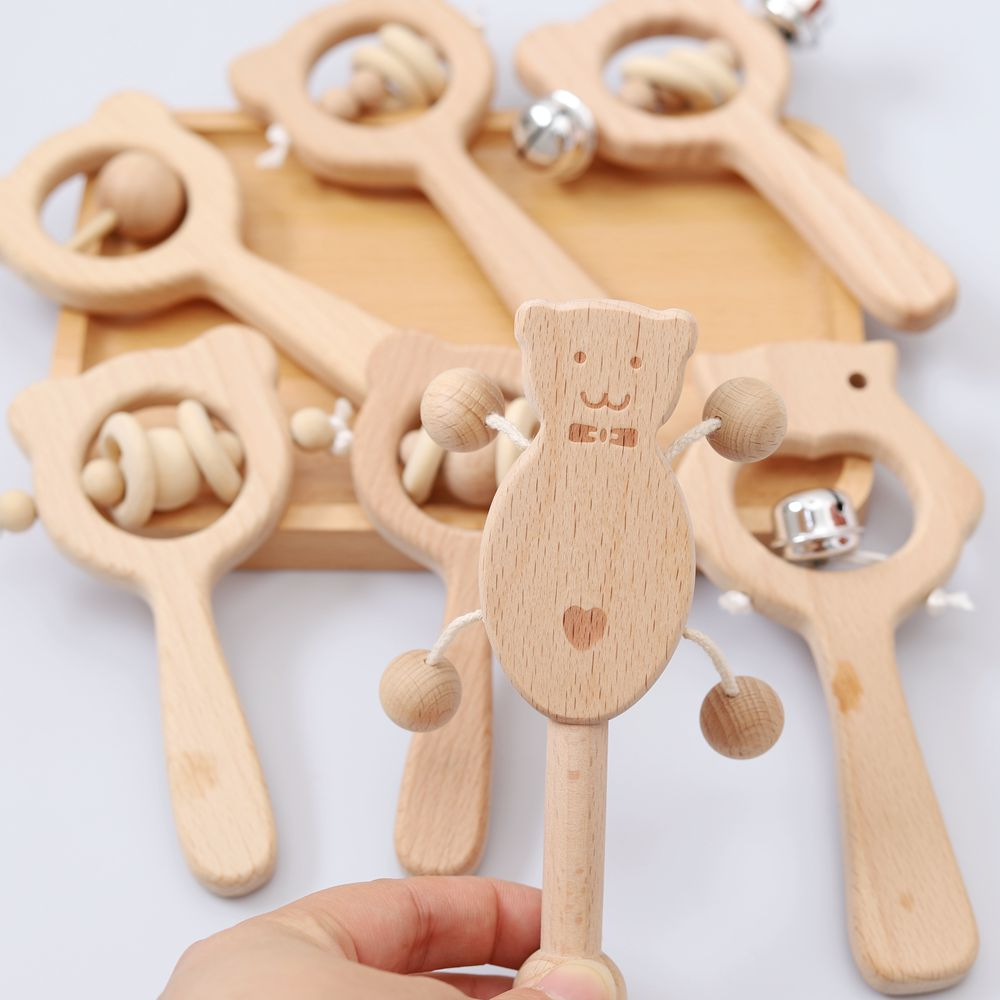 1Pcs Baby Toys Beech Wooden Rattle Teethers Baby Chew Toys Baby Food Grade Wood Handmade Baby Rattles DIY Accessories