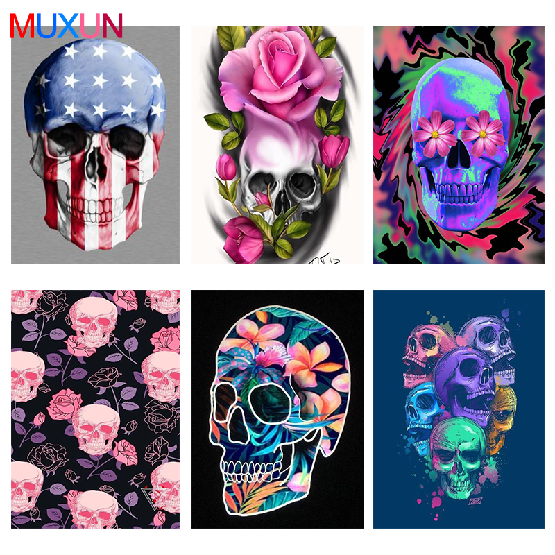 Full Round Drill 5D Diamond Painting Flowers New 3D Diamond Embroidery Skull Diamond Mosaic Home Decor Diamond Art Gifts Lx238 image