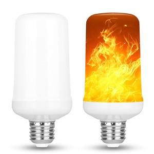 99 светодиодный s E27 Пламенные лампы 15 Вт 85-265 в 4 режима ампулы светодиодный светильник эффект пламени лампа Мерцающая эмуляция огонь светильник желтый/синий пламя