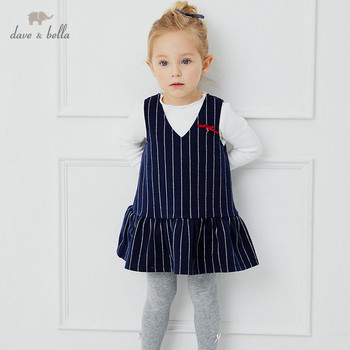 DB14841-1 dave bella autumn baby girl's cute bow striped draped dress children fashion party dress kids infant lolita clothes image