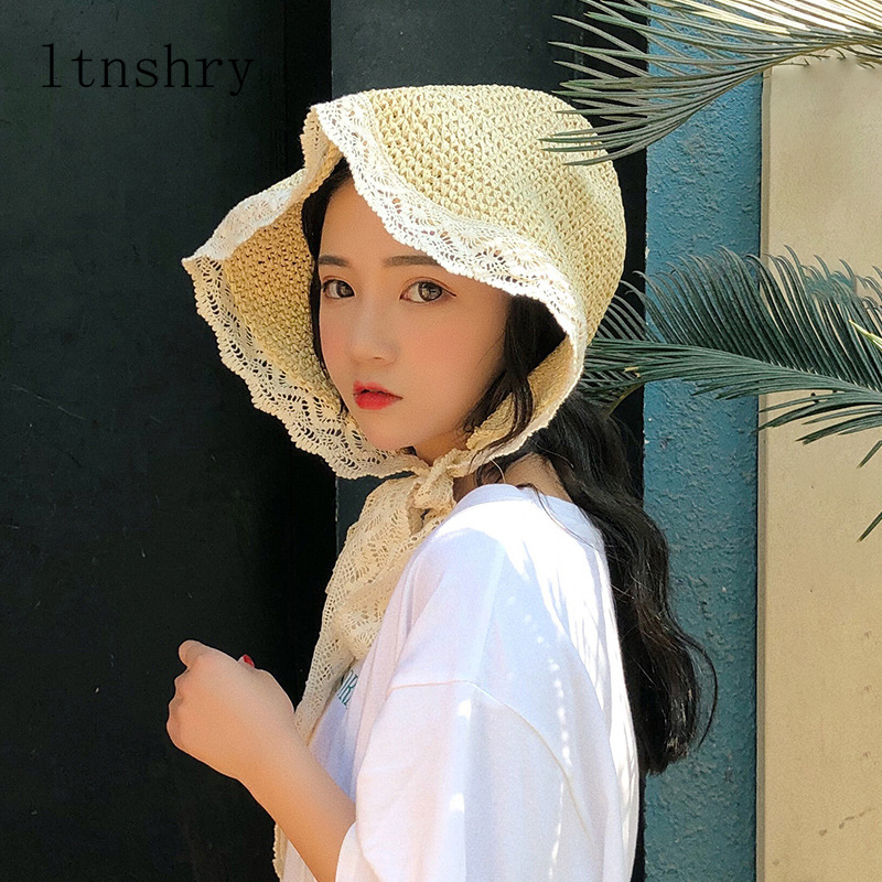 Summer French Style Lace Ribbon Hat Bow Holiday Beach Straw Paper Lady Out Door Travel Leisure Cap Women Bucket Hat Foldable