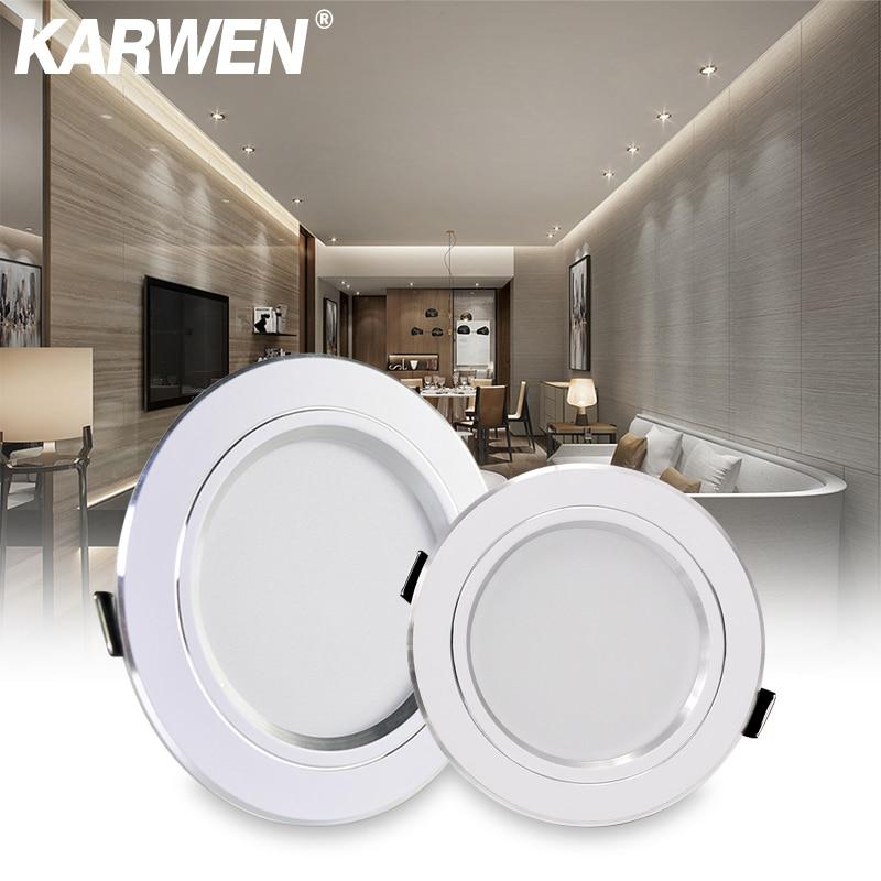 KARWEN LED Downlight AC 220V 230V 240V White Body Ceiling Light 5W 9W 12W 15W 18W Lampada Led Spotlight For Bedroom Room