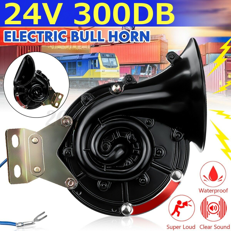 300db Loud 12V Universal Black Waterproof Electric Snail Horn Air Horn Raging Sound For