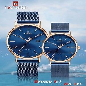 Image 1 - NAVIFORCE Fashion Couple Watch Mesh steel belt Women Watches Top Luxury Brand Waterproof Women Watches Reloj Mujer