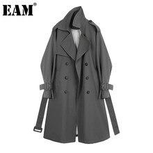 [EAM]-Trenca holgada de manga larga con solapa nueva para mujer, cortavientos, color gris, a la moda, primavera y otoño, 2021, 1DA757