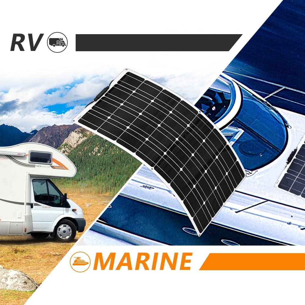 Solar Battery Flexible Solar Panel 100W 12V 24v Controller 10A Solar System Kits for Fishing Boat Cabin Camping (5) (1)
