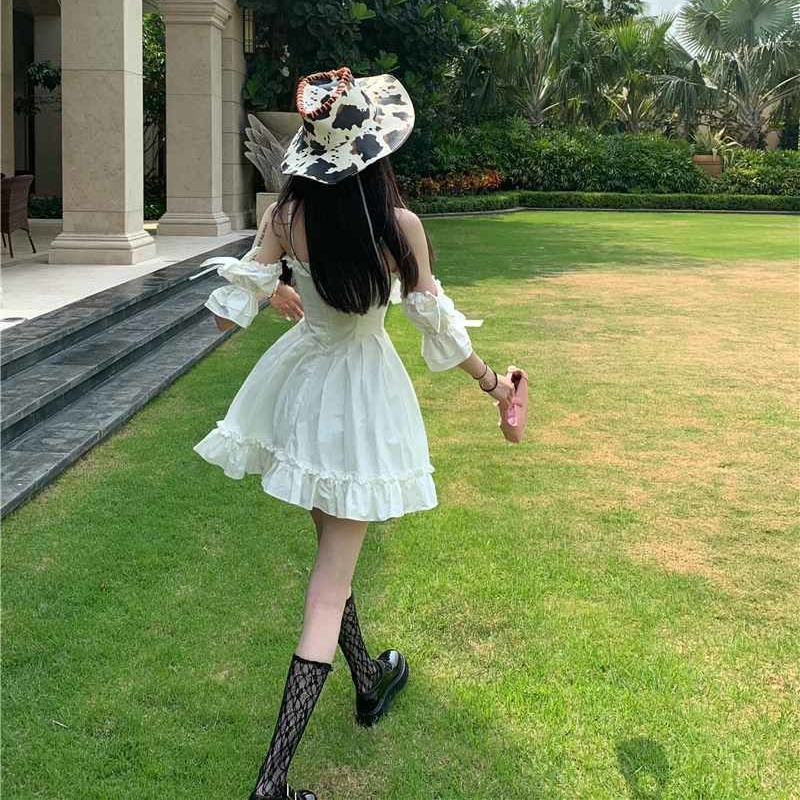White Kawaii Fairy Strap Dress Women Patchwork Off Shoulder Sexy Party Mini Dresses Bow Ruffle Sweet Cute Princess Sundress 2021 5
