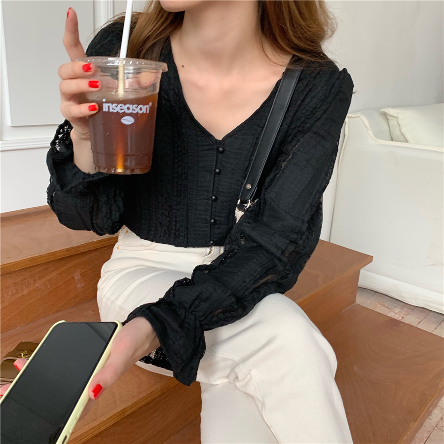 H12ae6454422148bab519107d17f2afede - Spring / Autumn V-Neck Long Sleeves Lace Buttons Blouse