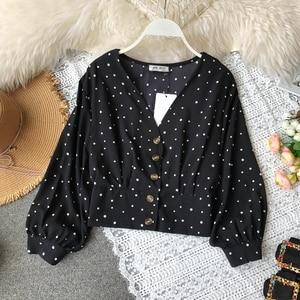 Image 5 - RUGOD blusa ceñida informal con manga larga para Primavera, camisa con estampado de lunares para mujer, cuello de pico, manga larga