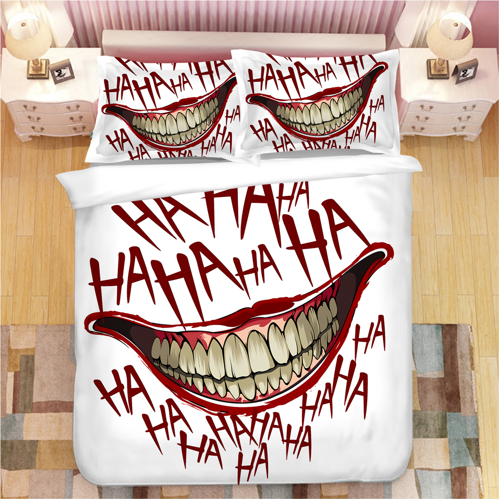 HAHA THE Joker 3D Bed Linens Duvet Covers Pillowcases The Joker Comforter Bedding Sets Bedclothes Bed Linen Bed Set