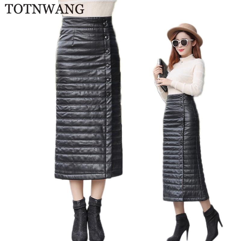 TOTNWANG 2019 New Black Warm Leather Skirts Women Casual Plus Size PU Down Cotton Skirts Women Winter Office Length Skirt Female