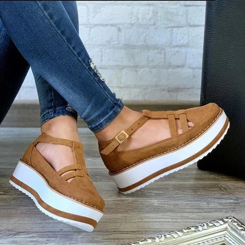 New Women Summer Sandals Fashion Solid Buckle Strap Thick Bottom Cutout Women Shoes Ladies Plus Size Sandals