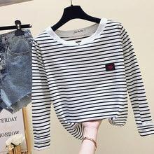 2021夏ストライプgkfnmtカジュアル女性tシャツ長袖韓国スタイルスリム基本コットンtシャツトップ婦人服tシャツf