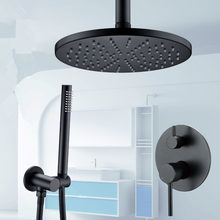 Shower Set Brass Alba Black System Bathroom Faucet Mixer Tap Ceiling Or Wall Arm Diverter Handheld Spray With 8-16