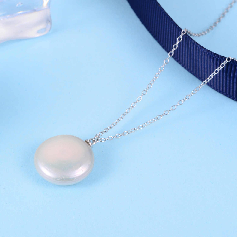 925 スターリングシルバー淡水真珠のペンダントネックレス女性チェーンネックレスチョーカーファインジュエリー cadenas · デ · プラタ 925 mujer