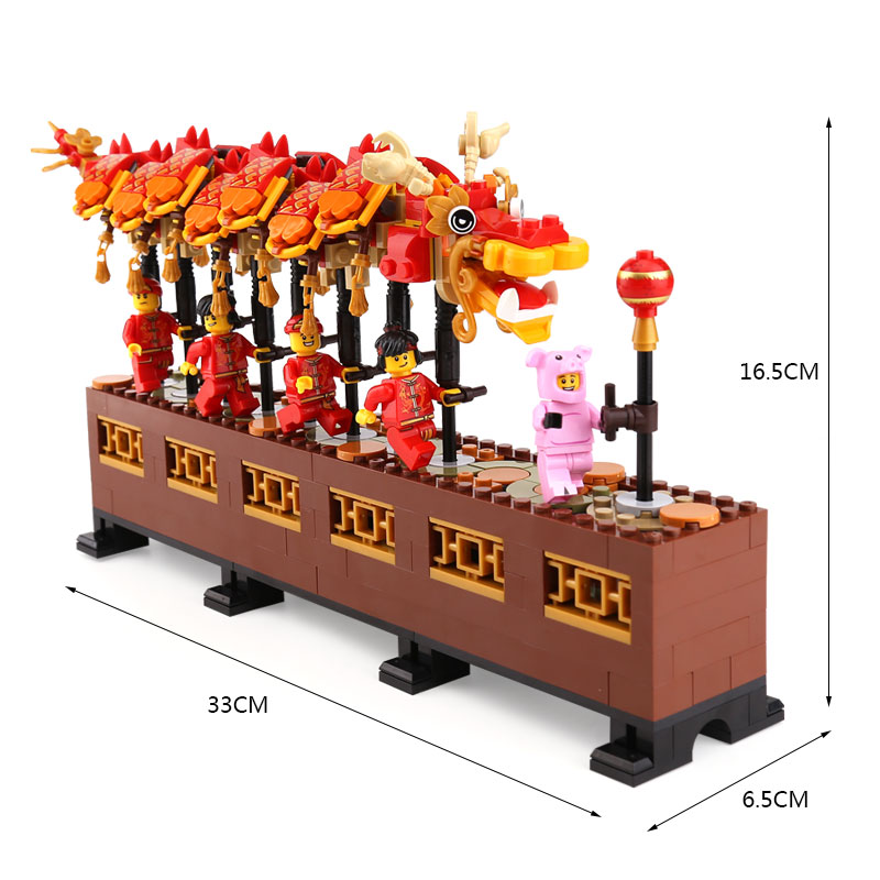 Image 2 - Lepinblocks 46002 Compatible With lepining 80102 Chinese Dragon Dance Set Building Blocks Bricks Assembly Toys New Year GiftBlocks   -