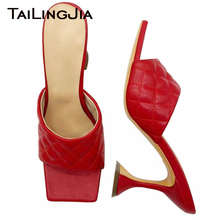 Women Square toe High Heel Summer Sandals Mules Ladies Elegant PU Leather Hoof H