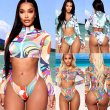 Purchase Women High Waist Bikini Set Padded Push Up Swimsuit Bathing Suit Long Sleeve Geometric Zipper Swimwear 2020 New Arrival saleoff