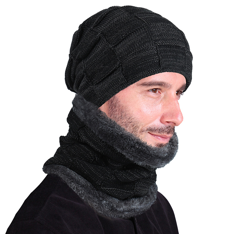 New Fashion Outdoor Warm Women And Men's Thick Fur Loop Knitted Winter Hat And Scarf Set
