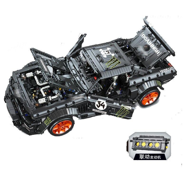 Ford Mustang Hoonicorn RTR V2 Racing Car with power function led light legoinges Technic MOC-22970 building block bricks Kids 18