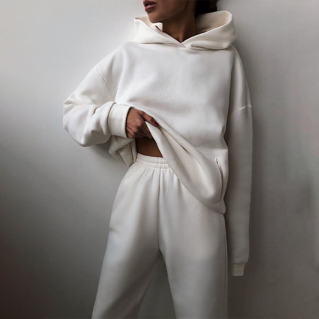 Women Elegant Solid Sets For Women Warm Hoodie Sweatshirts And Long Pant Fashion Two Piece Sets Ladies Lace Up Sweatshirt Suits 3