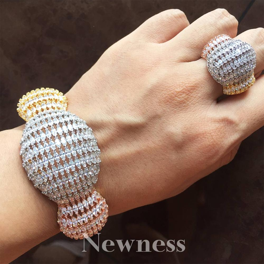 NewnessFashion Luxury Super 3 Tone Boom Flowers AAA Cubic Zirconia Women Engagement Party Width Bracelet Bangle And Ring Set