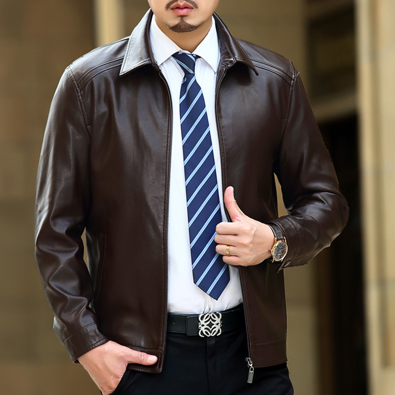 Spring Leather Jacket Men Black Brown Solid Mens Faux Casaco Loose Fit Middle Aged Business Jaqueta Couro Masculina HH026