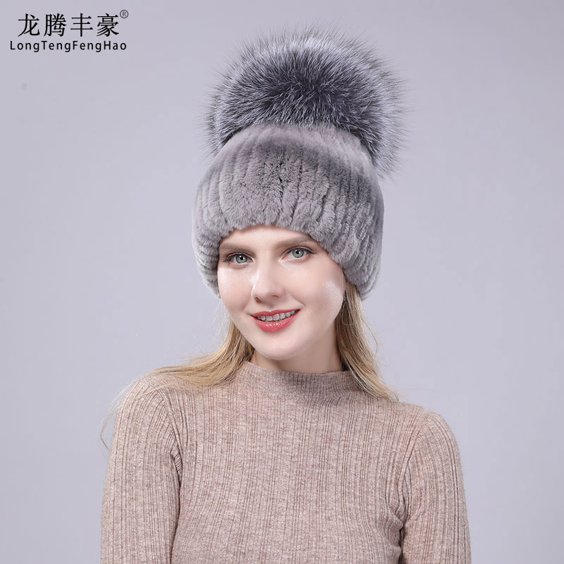 Women Real Rex Rabbit Fur Hats Female Solid Beanies With Big Fox Fur Ball Pompom Lady Casual Hat Girl Cute Warm Caps