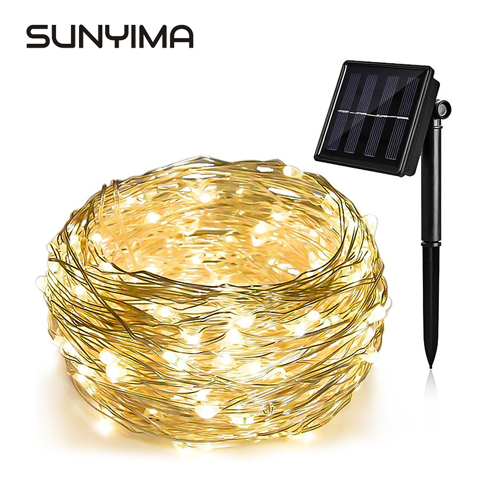SUNYIMA Solar LED Lawn Lamp Outdoor Waterproof 12m / 22m Copper Wire Solar String Lights For Holiday Party Christmas Lighting