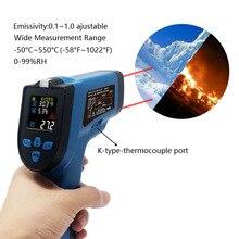 הדיגיטלי IR אינפרא אדום מדחום מדדי לחות אדום לייזר Pyrometer ללא מגע אקדח טמפרטורת נקודת מטר צג צבע תאורה אחורית