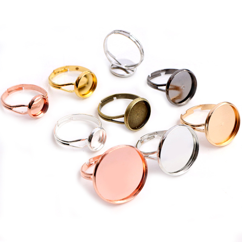 10pcs/lot Adjustable Blank Ring Base Fit Dia 10 12 14 16 18 20 Mm Glass Cabochons Cameo Settings Tray Diy Jewelry Making Ring