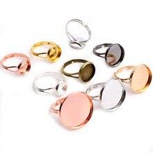 10 pçs/lote ajustável anel em branco base ajuste diâmetro 10 12 14 16 18 20 mm cabochons de vidro cameo configurações bandeja diy jóias fazendo anel