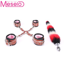 Meselo Crocodile Pattern Faux Tail Anal Plug Handcuff Ankle Cuff Sex Toys For Woman&Couples Harness Bondage Set Sex Games