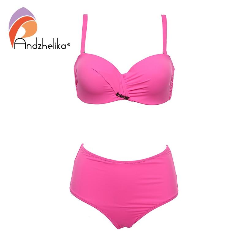 Image 4 - Andzhelika Sexy Bandeau Bikini Set Swimsuit Solid Push Up High waist Bikinis Two piece Beach Bathing Suit plus Size SwimwearBikini Set   -