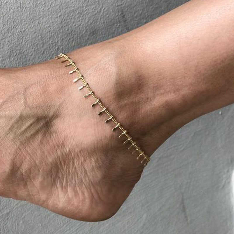 Simple Embossed Tassel Ankle Chain 2020 Fashion Summer Beach Foot Jewelry Anklets for Women Gold Silver Color Anklet Simple