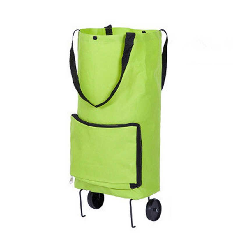 Koszyk holownik pokrowiec na wózek koła wielokrotnego użytku torba wózek na zakupy kobiety środowiskowe składane miejsce do przechowywania wielofunkcyjna torba na zakupy