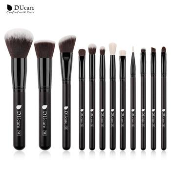 DUcare  Black Makeup brushes set Professional Natural goat hair brushes Foundation Powder Contour Eyeshadow make up brushes - 12PCS Brushes, China