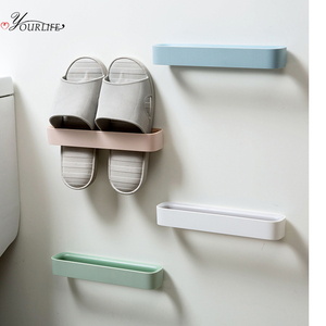 OYOURLIFE Wall Mounted Shoes Rack Family Bathroom Shoe Storage Organizers Self Adhesive Shoe Stand Slippers Hanging Holder